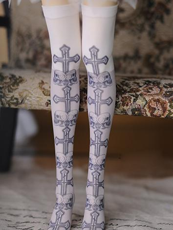1/4 Socks Lady Printed High Stockings for MSD Ball-jointed Doll