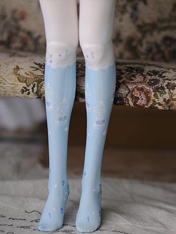 1/4 1/6 Socks Lady Blue Printed High Stockings for MSD/YSD Ball-jointed Doll