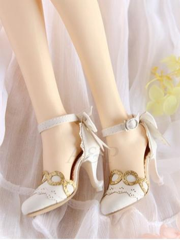 Bjd 1/3 Shoes Female White/Black HIgh-heels【BOLLA】 for SD16/SDGR Ball-jointed Doll