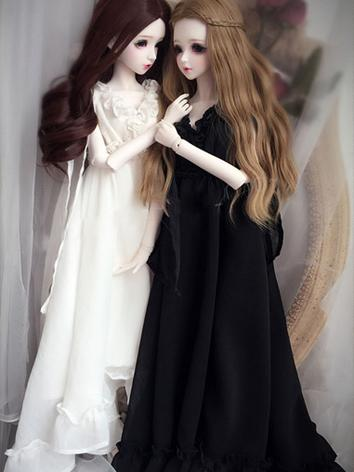 1/3 1/4 Clothes Girl White/Black Retro Long Dress for MSD/SD Ball-jointed Doll