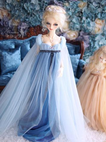 1/3 1/4 Clothes BJD Girl Blue/Champagne Dress for SD/MSD Ball-jointed Doll