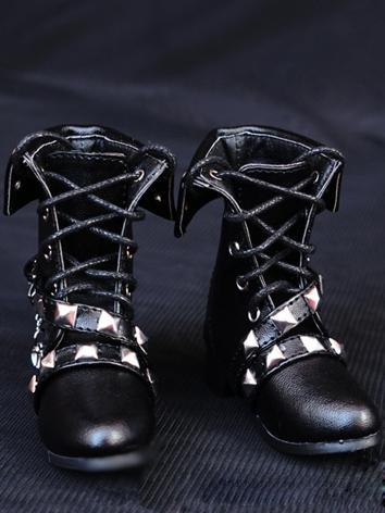 1/3 Shoes Male/Female Punk Black Short Boots for SD Ball-jointed Doll