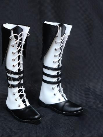 1/3 1/4 Shoes Male Black&White High Boots for SD/MSD Ball-jointed Doll