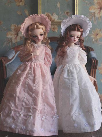 1/3 1/4 White/Light Pink Retro Dress +Glimmer Lily+ for MSD/SD Size Ball-jointed Doll