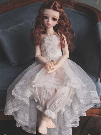 1/3 1/4 1/6 White Sundress +Here's Lullaby to Close Your Eyes+ for YSD/MSD/SD Size Ball-jointed Doll