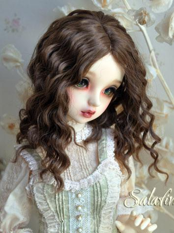 1/3 1/4 1/6 Wig Girl Dark Brown Curly Hair for SD/MSD/YSD Size Ball-jointed Doll