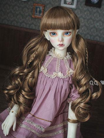 BJD Wig Female Gold/Pink Curly HAIR Wig for SD/MSD/YSD Size Ball-jointed Doll