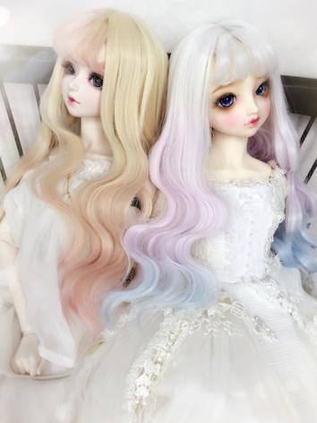 1/3 1/4 Wig Girl White/Gold Curly Hair for SD/MSD Size Ball-jointed Doll