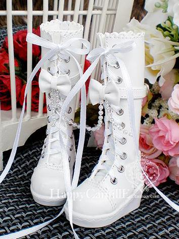 1/3 1/4 Shoes White Boots With Bow for SD/MSD Ball-jointed Doll