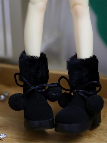 Bjd Boy/Girl Black/White Snow Boots Warm Shoes for MSD/SD Ball-jointed Doll