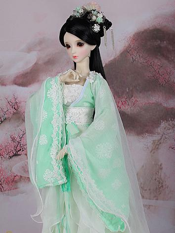 1/3 1/4 Clothes Girl Ancient Costume Dress Green Outfit for SD/MSD Ball-jointed Doll
