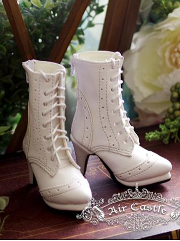 Bjd 1/3 Girl Shoes White/Black/Brown Retro Middle Boots for SD Ball-jointed Doll