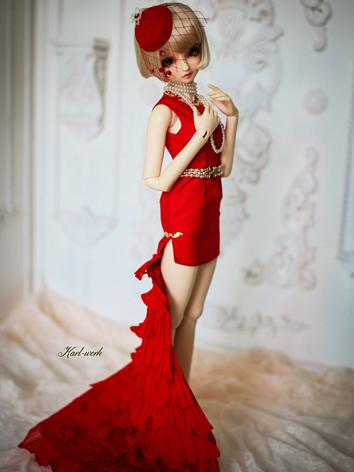 BJD Clothes Girl Red Dress【...