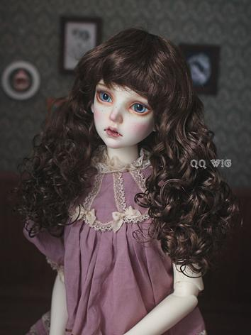 BJD Wig Brown/Gold Long Cur...