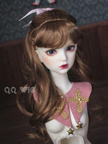 BJD Wig Brown/Gold Curly Ha...