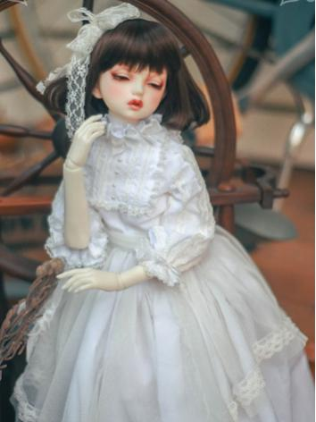 1/3 White Retro Dress +Glimmer Jasmine+ for SD Size Ball-jointed Doll