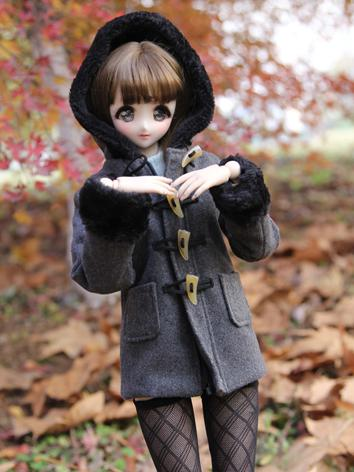 1/3 1/4 Girl Clothes Dark Gray Coat for SD/DD/MSD Size Ball-jointed Doll
