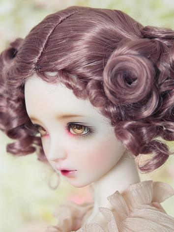 BJD Wig Female Brown/Purple Curly Hair Wig JW057 for SD/MSD/YSD Ball Jointed Doll