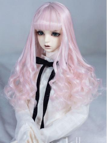 BJD Wig Girl Chocolate/Pink Curly Hair Wig for SD/MSD Size Ball-jointed Doll