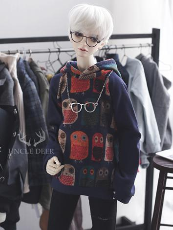 SD17 Boy Clothes Owl Printed Hoodies T-shirt for SD17/70cm Ball-jointed Doll