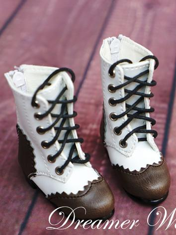 Bjd Brown&White Short Boots Shoes for SD/MSD Ball-jointed Doll