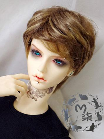 BJD Wig Boy Brown Curly Wig...