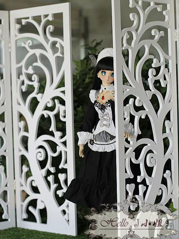 1/3 DD BJD Carved White Wooden Screen Folding Screen for SD Ball-jointed Doll