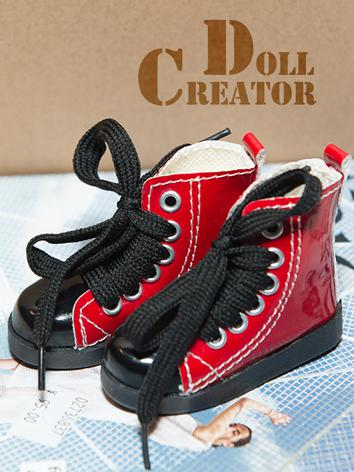 1/4 Shoes Red PU Leisure Shoes for MSD Ball-jointed doll