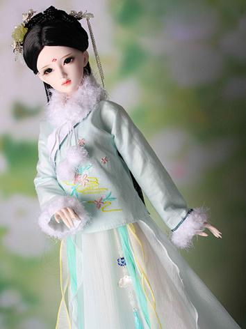 1/3 1/4 Clothes Girl Ancient Costume Dress Light Green Outfit for SD/MSD Ball-jointed Doll