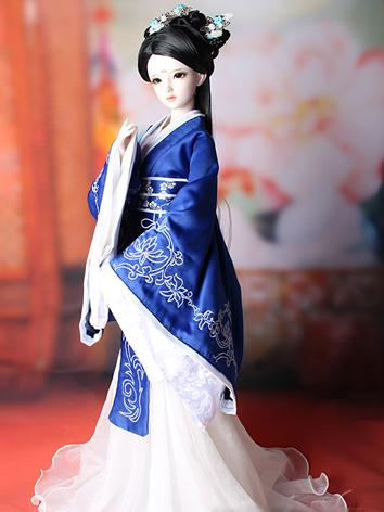 1/3 1/4 Clothes Girl Ancient Costume Dress Blue Outfit for SD/MSD Ball-jointed Doll