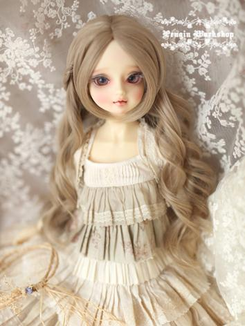 Girl Light Brown/Light Gold Long Curly Hair 1/3 Wig for SD Size Ball-jointed Doll