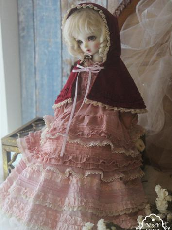 1/3 1/4 Clothes Girl Pink Dress Cloak Outfit for SD/MSD Ball-jointed Doll