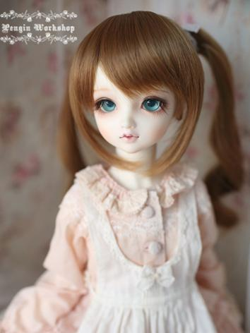 Girl Wig Green/Pink/Dark Brown Hair Wig for SD/MSD Size Ball-jointed Doll