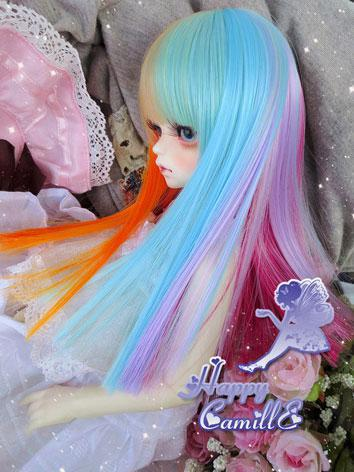BJD Girl Mix Color Wig Straight Hair for SD/MSD Size Ball-jointed Doll