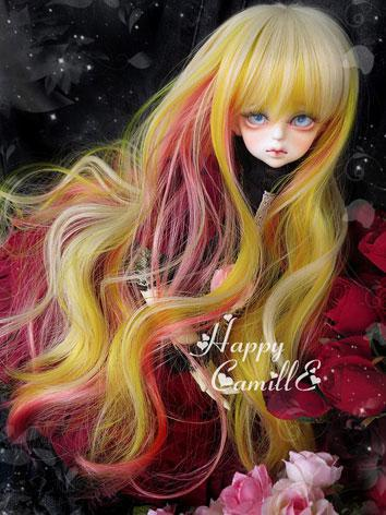 BJD Girl Mix Color Wig Curly Hair for SD/MSD Size Ball-jointed Doll