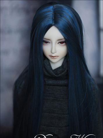 BJD Blue Long Staight Wig f...