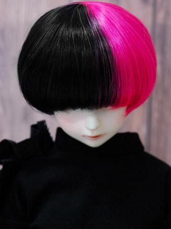 BJD Wig Boy Rose&Black Short Hair Wig for SD/MSD/YSD Size Ball-jointed Doll