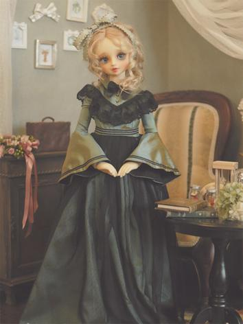 1/3 1/4 Blackish Green Dress +Let Roses Fill Your Dream+ for MSD/SD Size Ball-jointed Doll