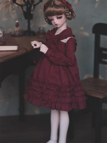 1/3 1/4 1/6 Dark Red Dress +Little Lady in the Morning Light+ for YSD/MSD/SD Size Ball-jointed Doll