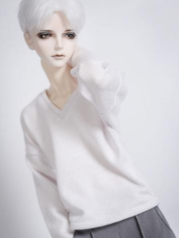 New 1//3 1//4 BOY BJD SD MSD Doll Clothes white v-neck knit T-shirt