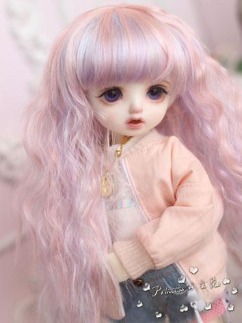 1/4 Wig Girl Light Pink&purple Curly Hair for BB Size Ball-jointed Doll