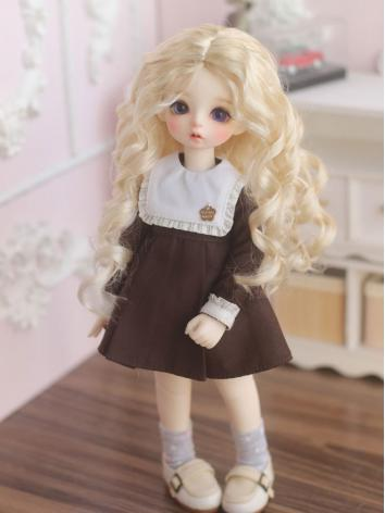 1/6 Wig Girl Light Gold Curly Hair for YOSD Size Ball-jointed Doll