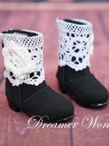 1/3 1/4 Shoes Female Black Boots Shoes for SD/MSD Ball-jointed Doll
