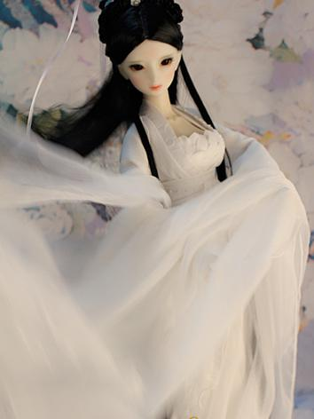 1/3 1/4 Clothes Girl Ancient Costume White Dress Outfit for SD/MSD Ball-jointed Doll
