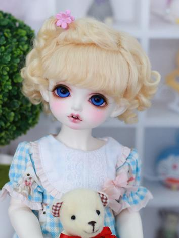 BJD Wig Girl Gold/Brown Curly Hair Wig for SD/YOSD Size Ball-jointed Doll
