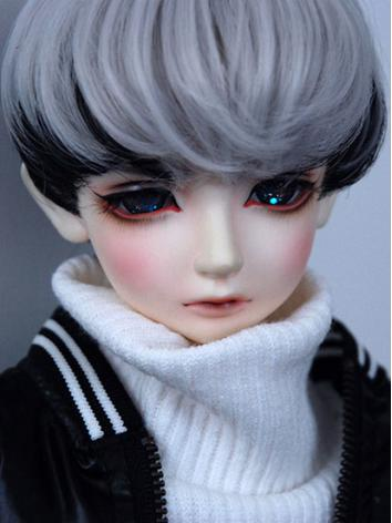 BJD Wig Boy Silver Black Ha...