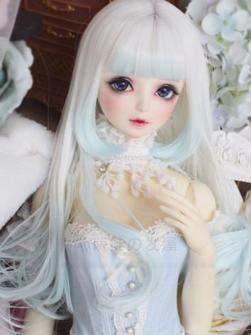 BJD Wig Girl White&Mint Hair for SD/MSD Size Ball-jointed Doll