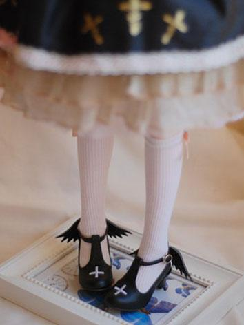 Bjd Girl/Female 1/4 1/6 Black/White Devil Shoes for MSD/YOSD Ball-jointed Doll