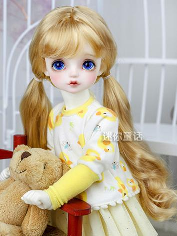 BJD Wig Girl Yellow/Pearl Double Bunches Hair 1/3 1/4 1/6 Wig for SD/MSD/YSD Size Ball-jointed Doll