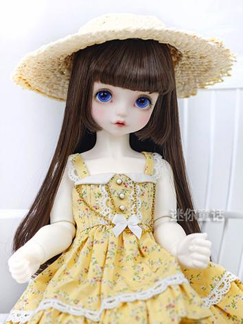 BJD Wig Girl Dark Brown/Pearl Double Bunches Hair 1/3 1/4 1/6 Wig for SD/MSD/YSD Size Ball-jointed Doll